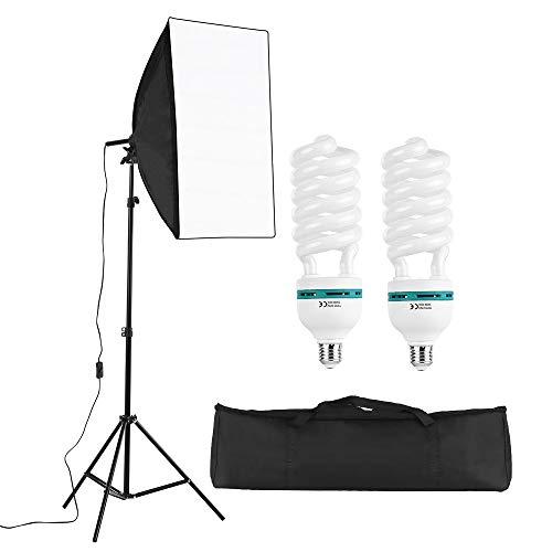 Andoer Fotostudio Softbox Beleuchtungsset 3er Packs mit 45W LED Fotolicht 4-in1 Lampenfassung 50 × 70cm Softbox Lichtständer und Tragetasche für Portrait Product Studio Fotografie
